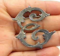 MEXICO 925 Silver - Vintage Dark Tone Etched Baroque Swirl Brooch Pin - ... - $28.06