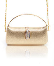 Faux Snake Skin Long Evening Bag With Water Drop Shape Rhinestone Accent... - $28.99