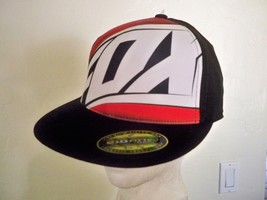 FOX RACING MEN'S GUYS BLACK FLEXFIT HAT CAP HUGE WHITE LOGO FOX STRIPE NEW  - $19.99
