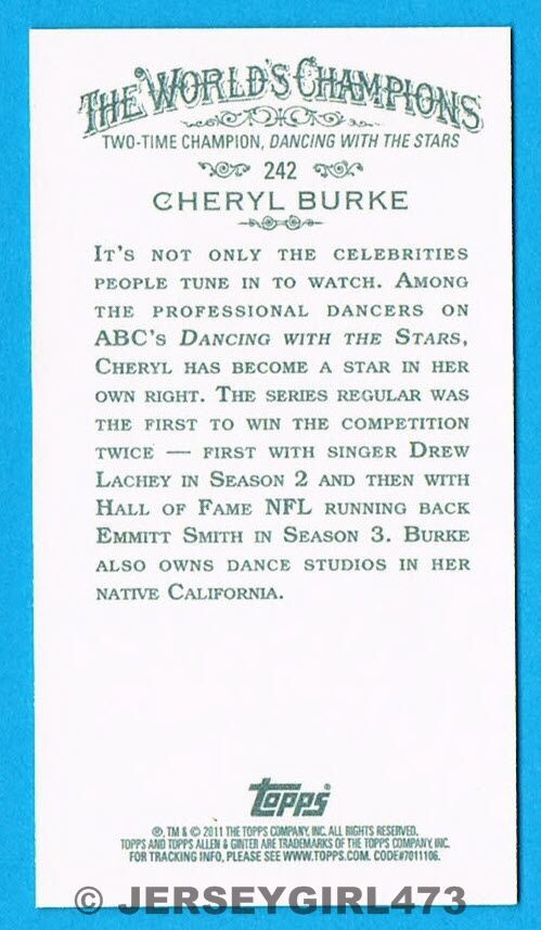 Cheryl Burke 2011 Allen & Ginter's Mini Black Card #242 ~ DANCING WITH THE STARS