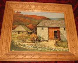 Vintage Print Carved Wooden Frame Farm House - $25.00