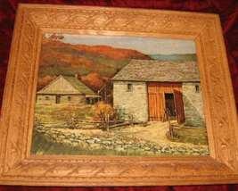 Vintage Print Carved Wooden Frame Farm House - $25.00
