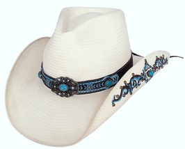 Bullhide Sweet Seduction Shantung Panama Straw Cowgirl Hat Turquoise Natural - €69,43 EUR