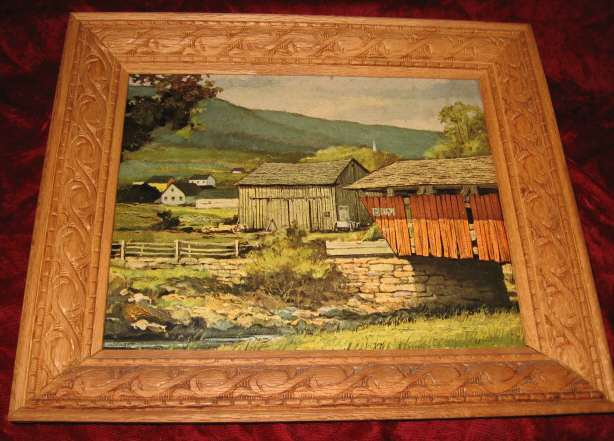 Vintage Print Carved Wooden Frame Barn Farm House