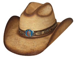 Bullhide Red Cloud Bangora Straw Shapeable Cowboy Hat Concho Dusted Natural - $64.00