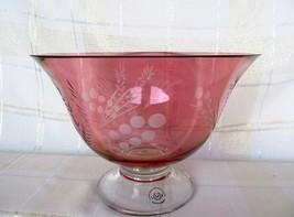 LENOX Crystal Etchings Cranberry Pedestal Bowl - $21.00