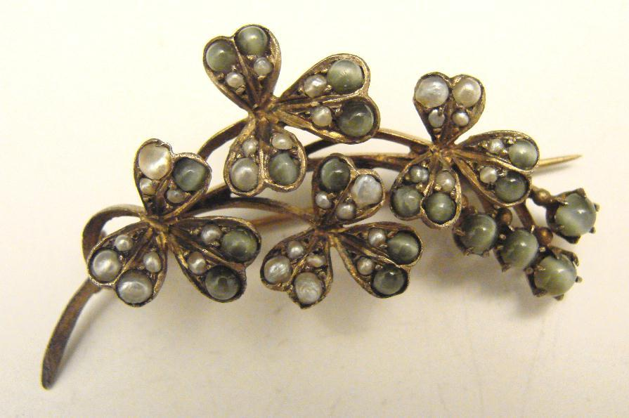 ANTIQUE VERMEIL GEM SET CLOVER PIN