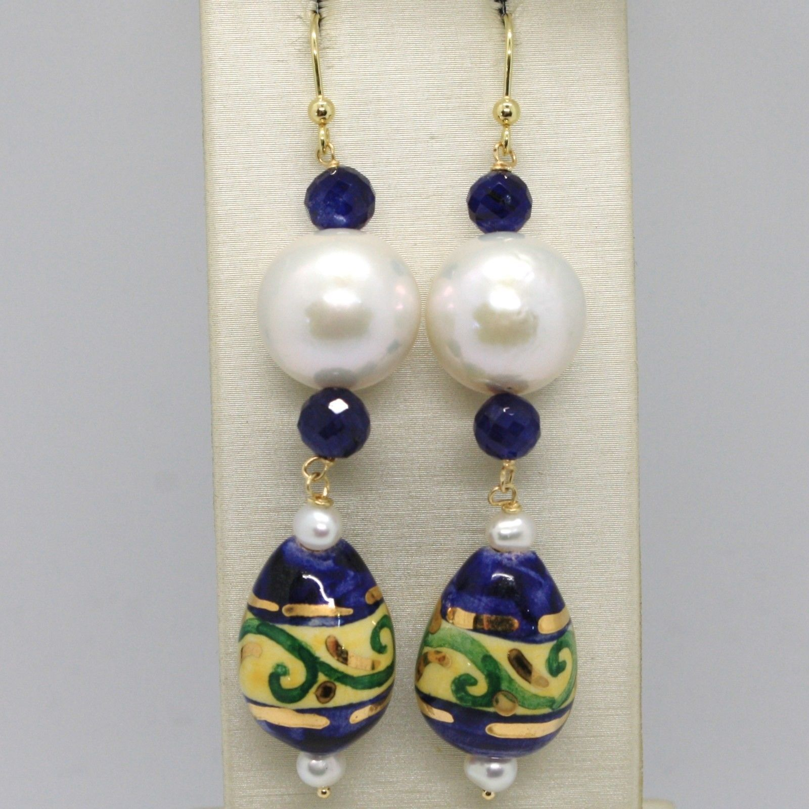 YELLOW GOLD EARRINGS 18K PEARLS SAPPHIRES AND DROP HAND-PAINTED MADE IN ITALY