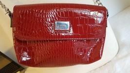 LIZ CLAIBORNE MARROON SHINY FAUX ALLIGATOR PURSE SHOULDER BAG CHAIN STRA... - $9.89
