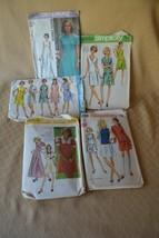 Lot of 5 Vintage Patterns Women Dresses simplicity 1969 - 1974 EUC - $6.78