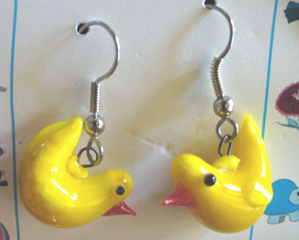 Global Village Yellow Chick Earrings