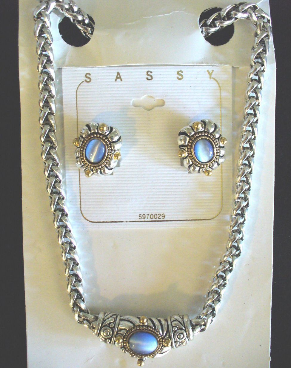 Cats Eye Fashion Necklace and Earring Set in Silver and Gold