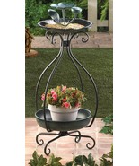 Metal BIRDFEEDER and PLANTER 32 inch high multipurpose feeder decor - $27.55