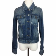 Denim Floral Embroidered Jacket Jean S Sutters Lightly Distressed Stretc... - $48.22