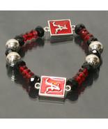 Alabama Crimson Tide Licensed Ncaa Glass Beads & Charm Crystal Bracelet - $18.00