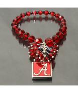 Alabama Crimson Tide Licensed Ncaa Glass Beads Stretch Crystal Bracelet - $19.00