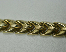 """Aurafin Italian 1/4"""" Wide 14K Yellow Gold Polished, Etched Link Bracelet... - $674.14"""
