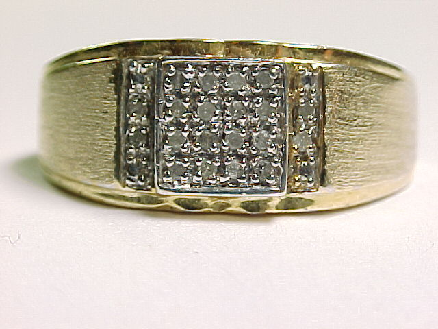 Primary image for MEN'S DESIGNER Signed GOLD on Sterling Vintage RING with 20 Genuine DIAMONDS