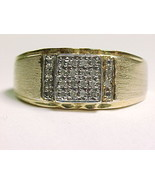 MEN'S DESIGNER Signed GOLD on Sterling Vintage RING with 20 Genuine DIAM... - $7.500,70 MXN