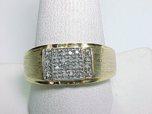 MEN'S DESIGNER Signed GOLD on Sterling Vintage RING with 20 Genuine DIAMONDS