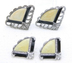 VTG Silver Tone Faux Marcasite Enamel Fan Post Earring Pin Brooch Set - $29.70