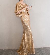 Sexy Golden Bat Sleeve Maxi Long Sequin Dresses Fitted Sequined Cocktail Dress image 6
