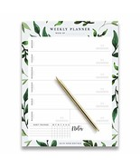 Weekly Planner Pad Tear Off Greenery Design, 50 Undated Pages, To Do Lis... - $12.25