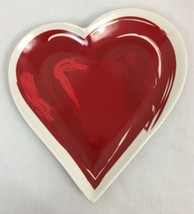 Longaberger Pottery Heart Plate, Red and White, New in Box - $23.74