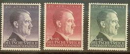 Hitler 54th Birthday WWII Occupied Poland Set of 3 Stamps Catalog NB24-26 MNH