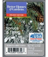 Blue Spruce Tinsel Better Homes and Gardens Scented Wax Cubes Tarts Candle - $3.50