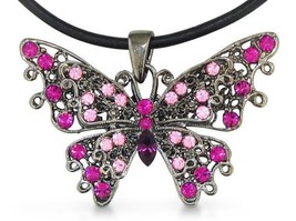 Swarovski Elements Crystal Pink Butterfly Pendant, Black Leather Cord - $34.65