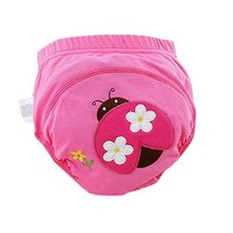 Lovely Cartoon Animal Pattern Baby Elastic Cloth Diaper Cover (M,9-11KG,Ladybug)