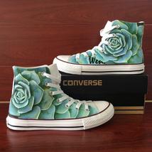 Men Women Converse Shoes Design Succulent Plant Hand Painted Canvas Sneakers - $155.00