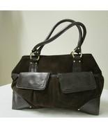Anne Taylor Loft Brown Suede Tone On Tone Shoulder Handbag Purse - $39.00