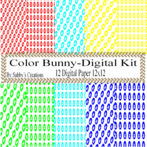 Bunny Digital Kit-Digtial Paper-Egg-Bunny-Art Clip-Gift Tag-Jewelry-back... - $5.00
