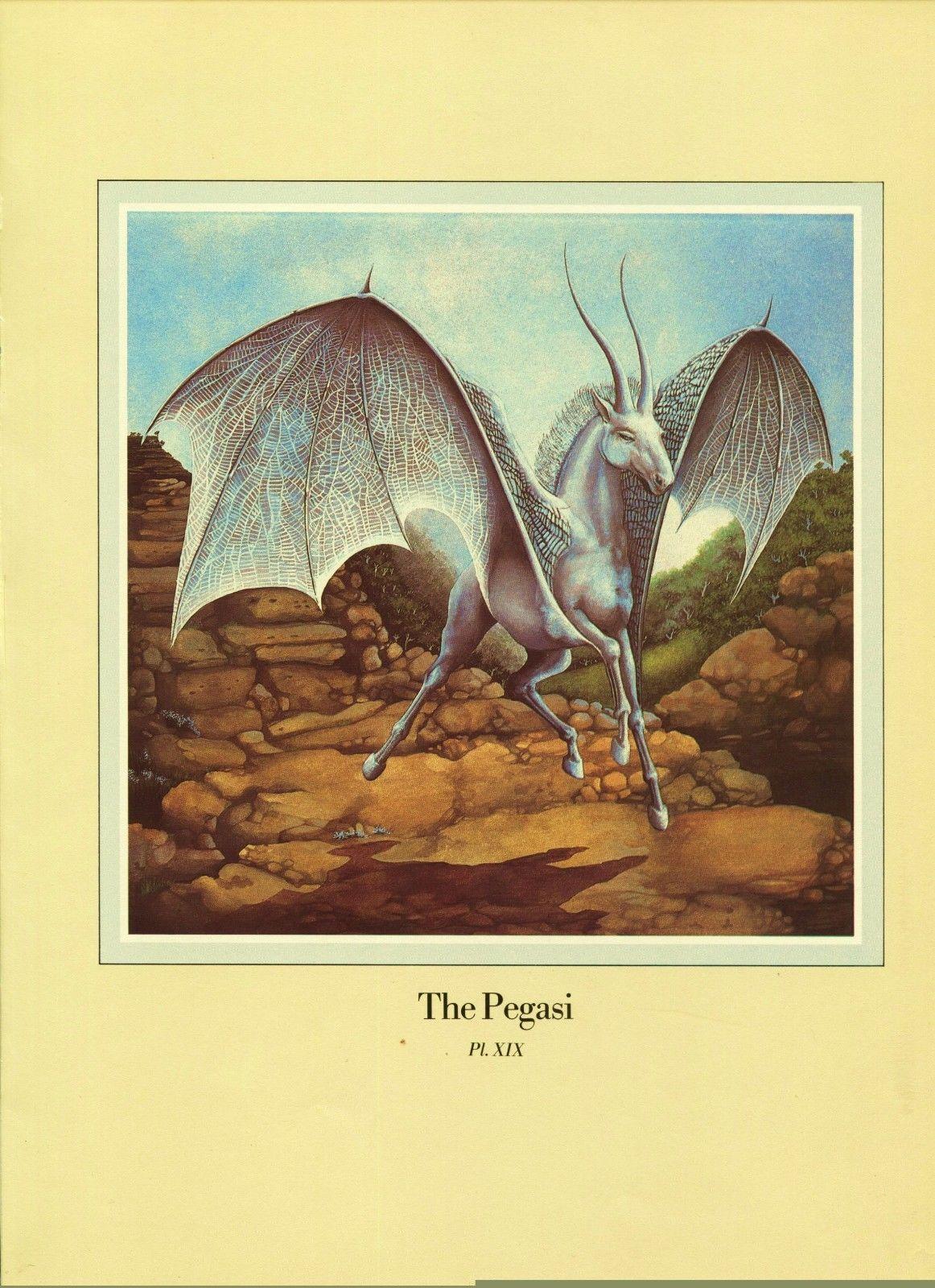 "Una Woodruff. ""The Pegasi"", Horse, Bat Wings, Antelope Horn. 1979 Fantasy Print."
