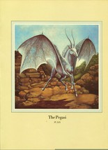 "Una Woodruff. ""The Pegasi"", Horse, Bat Wings, Antelope Horn. 1979 Fantasy Print. - $18.02"