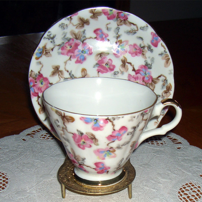 Lefton China vintage cup & saucer with pink flowers