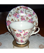 Lefton China vintage cup & saucer with pink flowers - $13.00