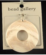 White Carved Donut Shaped Shell Pendant  60mm New - $9.99