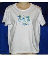 SHENANIGANS Size Large White T-Shirt Blouse wit... - $8.99