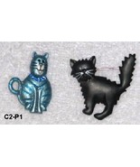 Decorative Enamel Jewelry Cat Pins One Blue and one Black - $5.99