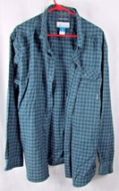 Columbia men's XL cotton plaid checks blue red navy button front casual shirt - $9.89