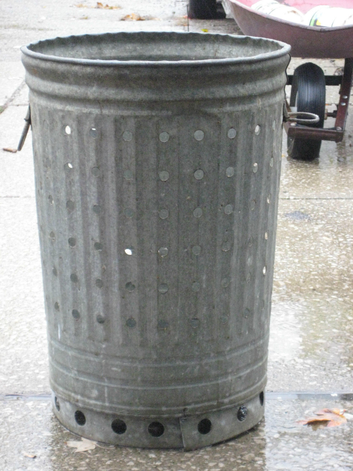 vtg galvanized trash can w air holes and 49 similar items