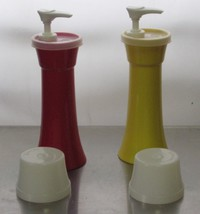 TUPPERWARE #718 Ketchup and Mustard Dispenser with Lids Hourglass Shape - $40.00