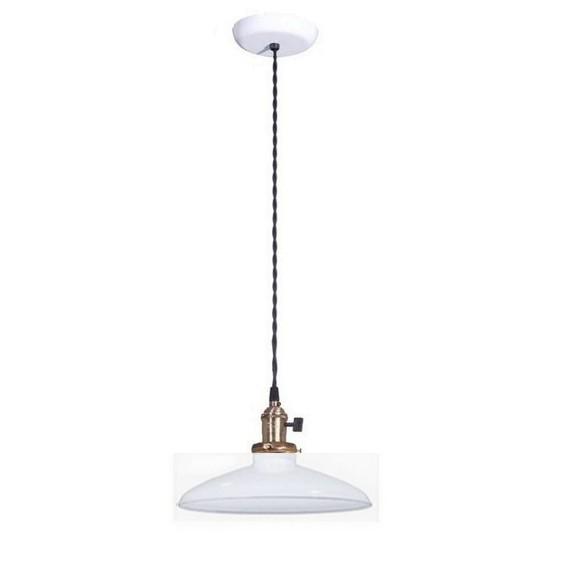 Pendant Industrial Style Light Fixture w/ White Shade Porcelain Enamel - $99.95