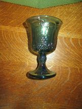 Vintage Iridescent Blue Carnival Glass Goblet Candle Holder-Grape image 5