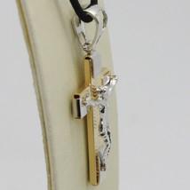 Pendentif Croix or Jaune Blanc 750 18K, avec Christ, Finement Travaillé image 2