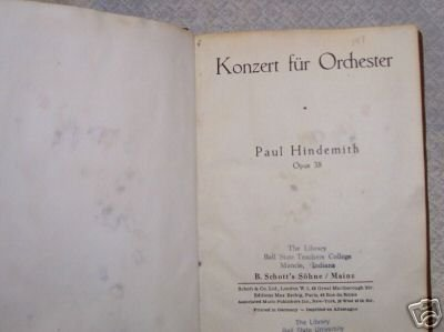 Konzert for Orchester Opus 38 Paul Hindemith