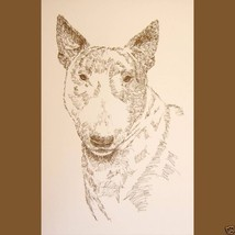 Bull Terrier Dog Art Portrait Print #50 Kline adds dog name free. WORD D... - $60.00